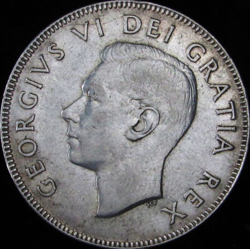 1950 Lines in 0 (Design) Canada Silver 50 Cents (Fifty, Half) - KM# 45 - JG - AU