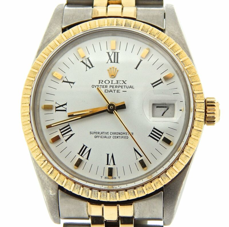 Rolex Date 15053 Mens 2tone Stainless Steel Yellow Gold Watch White Roman Dial