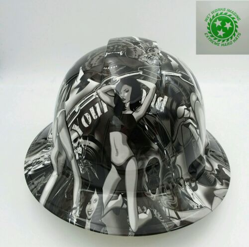 Hard Hat FULL BRIM custom hydro dipped , OSHA APPROVED , BIKER BABES WOW