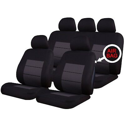 UNIVERSAL CAR SEAT COVERS Full Set Classic Black/Grey Washable Airbag Compatible