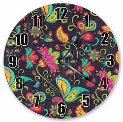 10.5 MULTICOLOR FLORAL CLOCK - Large 10.5 Wall Clock - Home Décor Clock- 3014