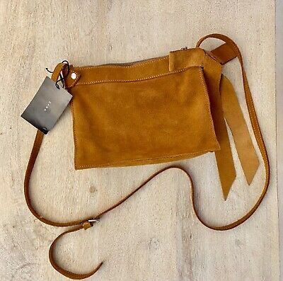 Zara Suede Crossbody Bag With bow