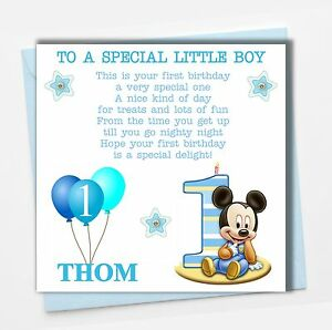 Personalised Mickey Mouse Boy Son Grandson Godson Babies First 1st Birthday Card