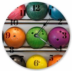 10.5 COLORFUL BOWLING BALLS CLOCK - Large 10.5 Wall Clock - Home Décor - 3170
