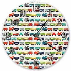 10.5 COLORFUL TRAINS CLOCK - Large 10.5 Wall Clock - Home Décor Clock - 3102