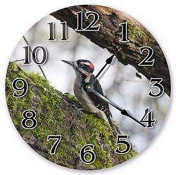10.5 DOWNY WOODPECKER CLOCK - Large 10.5 Wall Clock - Home Décor Clock - 3024
