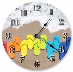 10.5 FLIP FLOPS ON BEACH SAND CLOCK Large 10.5 Wall Clock Home Décor - 3077
