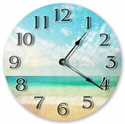 10.5 BLUE GREEN ARTISTIC BEACH CLOCK - Large 10.5 Wall Clock Home Décor - 3139