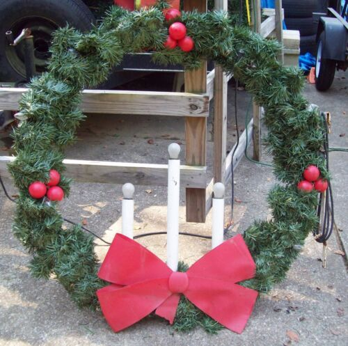 """48"""" Christmas Wreath 3 Candle&lights Pole Mount Decoration Commercial Grade 250V"""