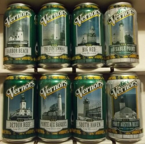 Set OF 8 2019 Michigan Lighthouse Vernors Ginger Ale Soda Pop Cans FREE SHIPPING