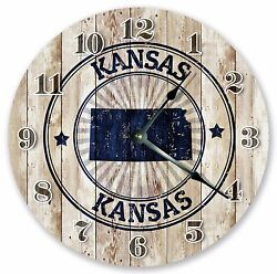 10.5 KANSAS STATE RUBBER STAMP CLOCK - Large 10.5 Wall Clock - Home Décor 3259