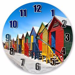 10.5 COLORFUL BEACH COTTAGES CLOCK Large 10.5 Wall Clock Home Décor - 3052