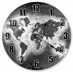 10.5 GREY WORLD MAP CLOCK - Large 10.5 Wall Clock - Home Décor Clock - 3224