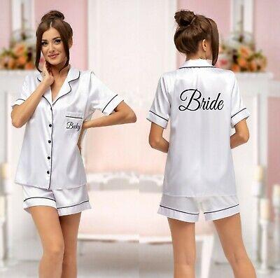 Personalised Short Pyjamas Wedding Honeymoon Gift Bridal PJs Pyjama Set + Childs