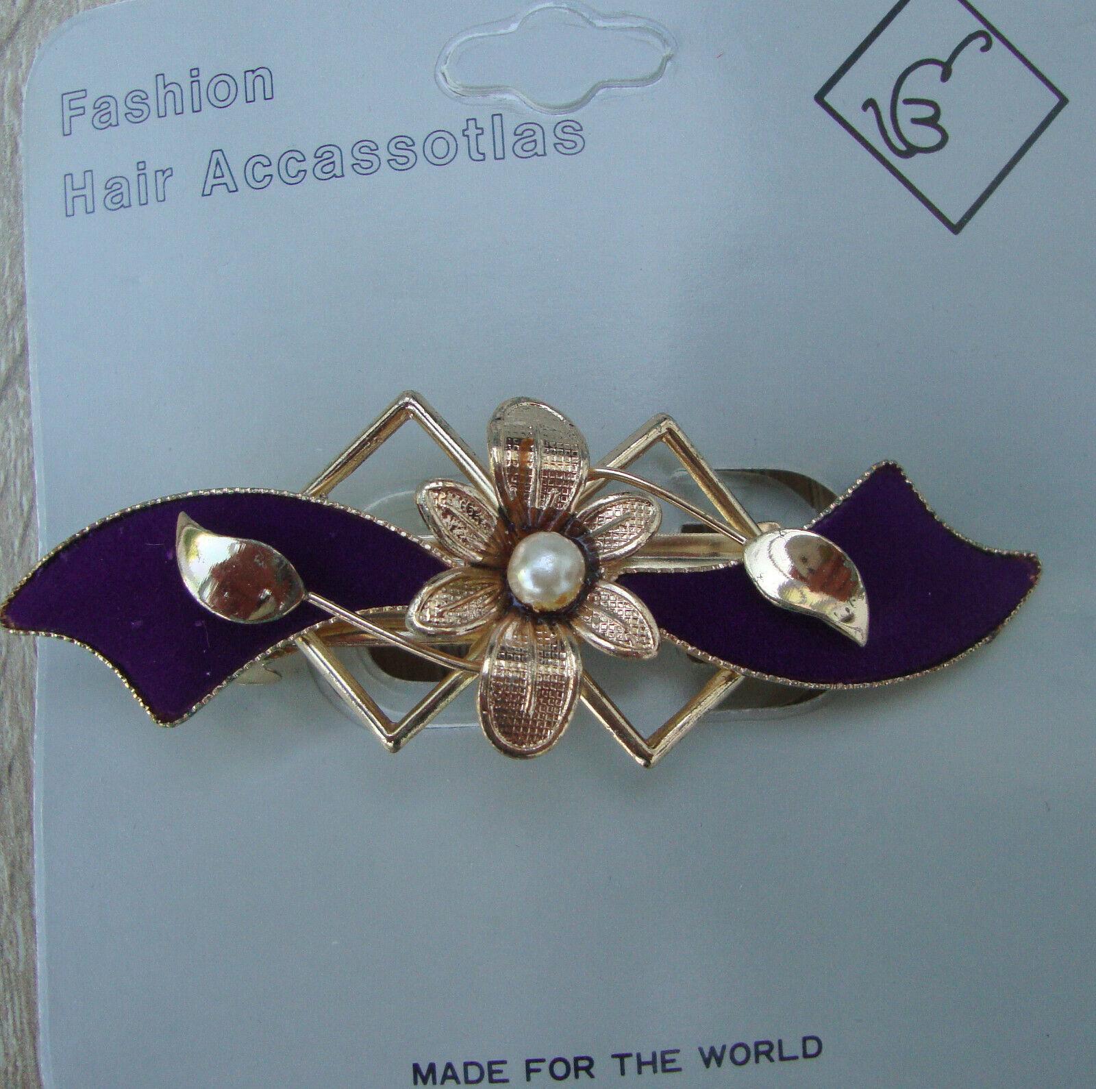 Schöne Metall Haarspange mit Samt/Stoff verziert in 6 Farbvarianten neu
