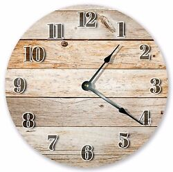 10.5 RUSTIC BROWN WOOD BOARDS CLOCK - Large 10.5 Wall Clock Home Décor - 3071
