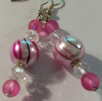 Pink 12mm Lampwork Crystal Glass Earrings - Sterling Hooks - Combined Shipping