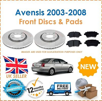 For Toyota Avensis 2003-2008 Two Front Vented 277MM Brake Discs & Brake Pads Set