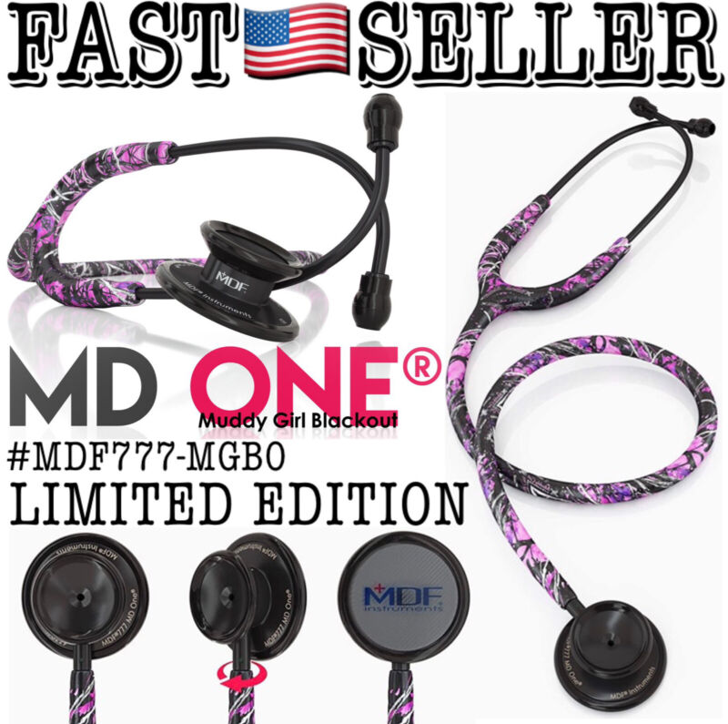 MDF MD One Black & Pink Muddy Girl Camo Stethoscope Limited Edition *SEALED/FAST