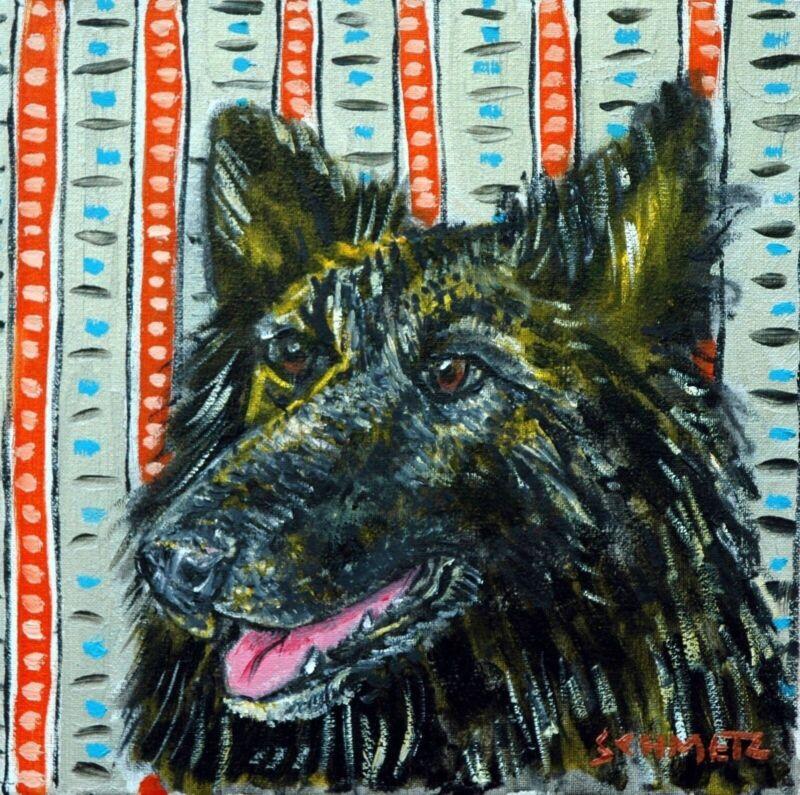 belgian shepherd dog art tile COASTER gift JSCHMETZ modern folk art
