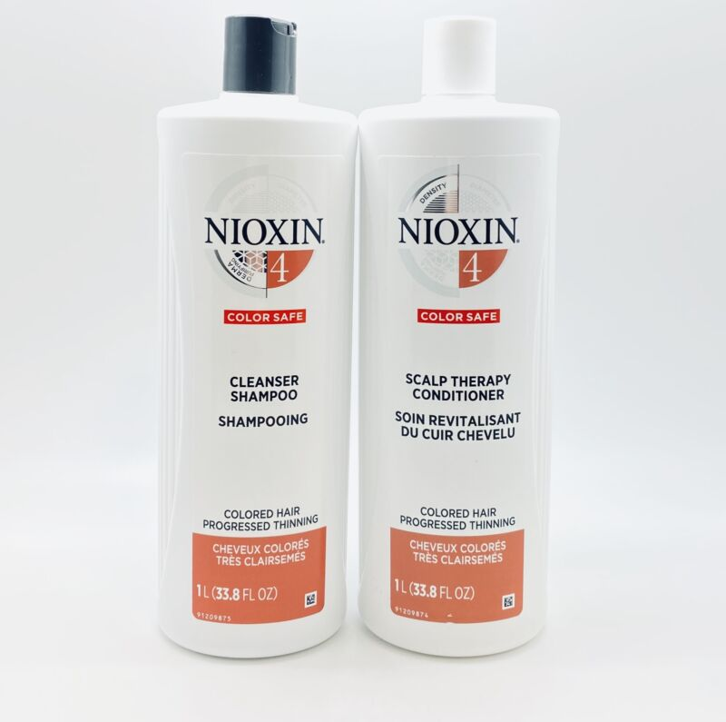 Nioxin System 4 Cleanser & Scalp Therapy for Fine Treated Hair Duo 33.8 oz Set