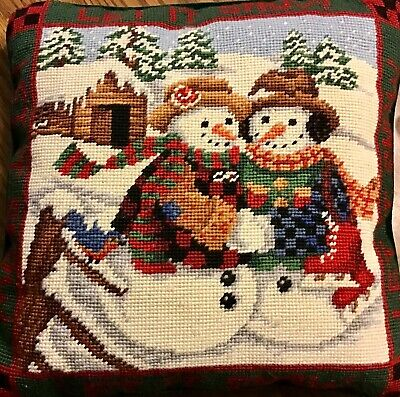 Christmas Pillow Needlepoint Let It Snow Snowman Skating Throw Couch Velvet Back