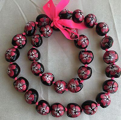 Kukui Nut Lei Hibiscus Pink Flower Necklace Hawaiian Wedding Luau Graduation NEW