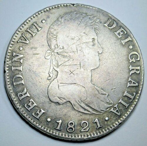 1821 NG M Spanish Guatemala Silver 8 Reales Eight Real Old Colonial Dollar Coin