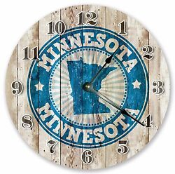 10.5 MINNESOTA RUBBER STAMP CLOCK - Large 10.5 Wall Clock - Home Décor - 3238