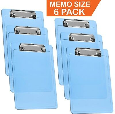 Acrimet Clipboard Memo Size 9 14 X 6 14 Low Profile Clip Clear Blue 6 Pack