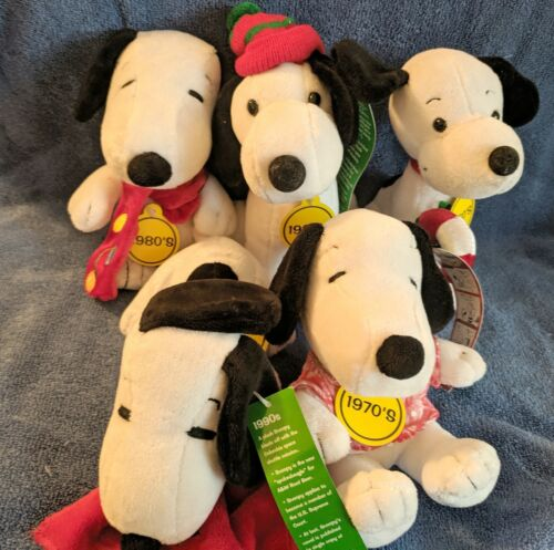 """Collectible Plush Snoopy Set of 5 """"Celebrate Peanuts 60 Years"""""""