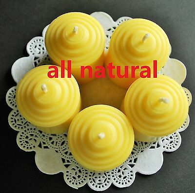 Soy Wax Votive - 5 Votive candles pure Beeswax Soy wax all Natural Aromatherapy spa quality