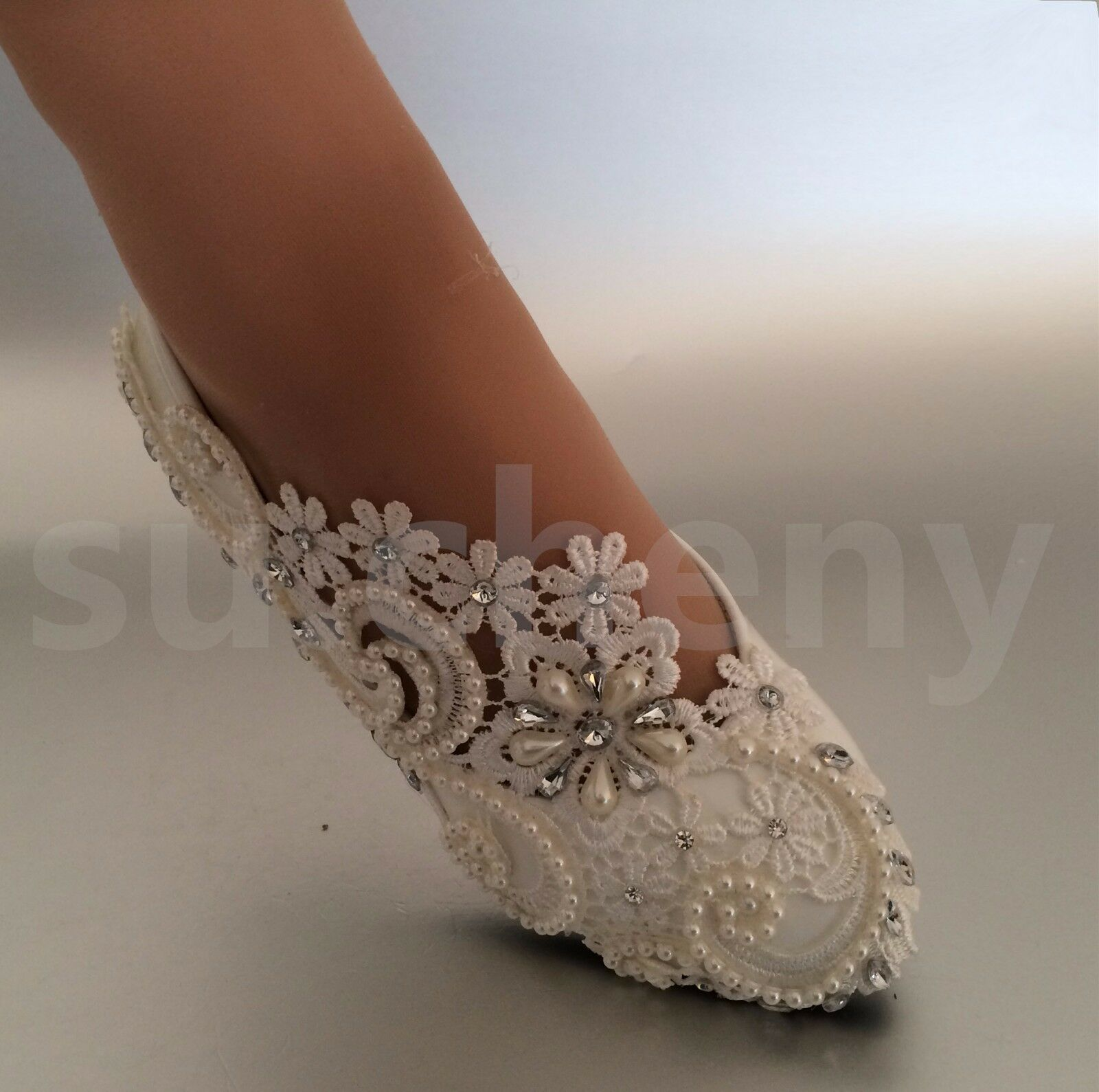 d4ef6ce3aa9d su.cheny White ivory pearls rhinestones lace flat Wedding shoes Bridal size  512