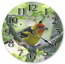 10.5 WESTERN TANAGER CLOCK - Large 10.5 Wall Clock - Home Décor Clock - 3020