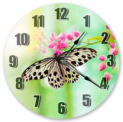 10.5 BUTERFLY SIPPING NECTAR CLOCK - Large 10.5 Wall Clock - Home Décor - 3202