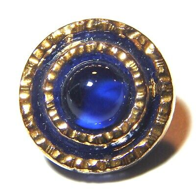 VIVID 1940'S NAVY BLUE GLASS MOONGLOW BUTTON w/GOLDEN LUSTER TRIM