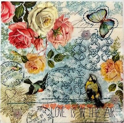 ROSES FLORAL BIRD COLLAGE 2 single LUNCH SIZE paper napkins for decoupage 3-ply