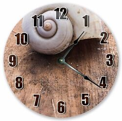 10.5 SEASHELL ON WOOD FLOOR CLOCK - Large 10.5 Wall Clock - Home Décor - 3073