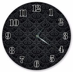 10.5 BLACK DAMASK PATTERN CLOCK - Large 10.5 Wall Clock Home Décor Clock 3194