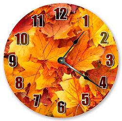 10.5 RED MAPLE LEAVES CLOCK - Large 10.5 Wall Clock - Home Décor Clock - 3207