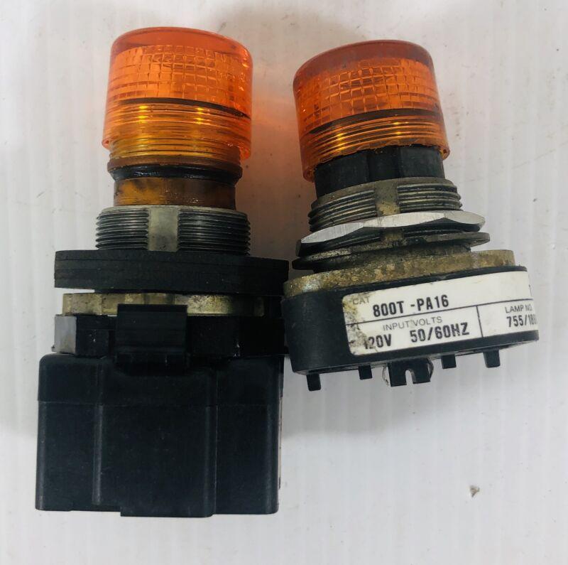 Illuminated Amber Push Button Switch (Lot of 2)
