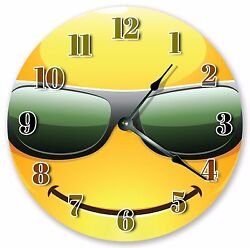 10.5 COOL EMOJI WITH SUNGLASSES CLOCK Large 10.5 Wall Clock Home Décor - 3059