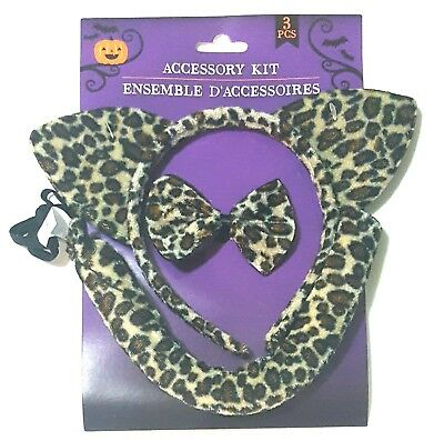 Kitty Cat Ear Leopard Headband Bow Tie Tale 3pc Halloween Costume Accessory