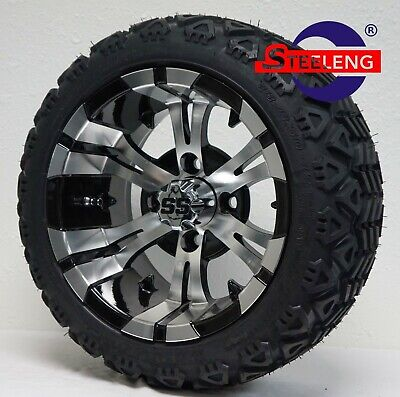 "GOLF CART 12""x7"" MACHINED/BLACK VAMPIRE WHEELS and 18"" AT TIRES (SET OF 4)"