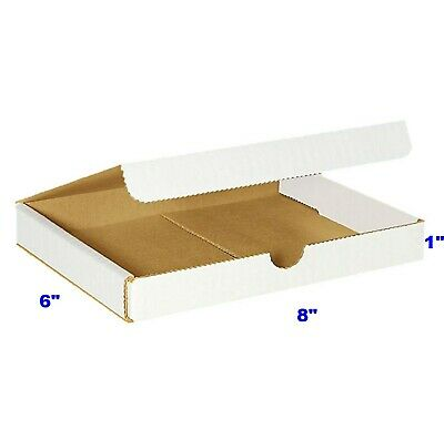 50 - 8x6x1 Small White Corrugated Cardboard Packaging Shipping Mailing Box Boxes