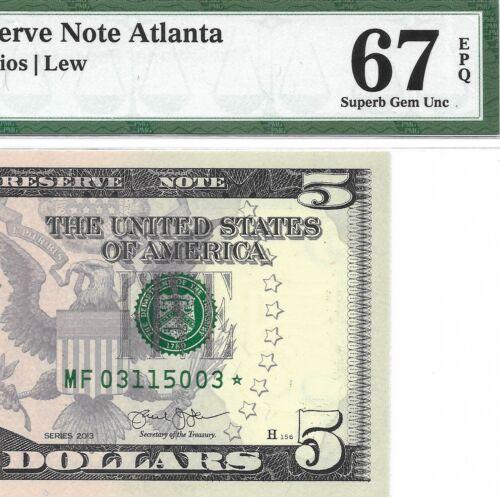 2013 $5 ATLANTA * STAR * ⭐️  FRN, PMG SUPERB GEM UNCIRCULATED 67 EPQ BANKNOTE