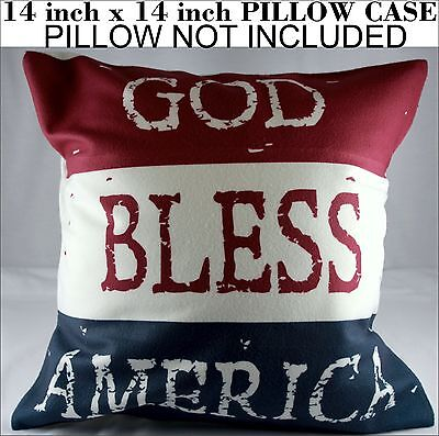 God Bless America Flag Pillow Case Cover 14 inch Square American Red White -