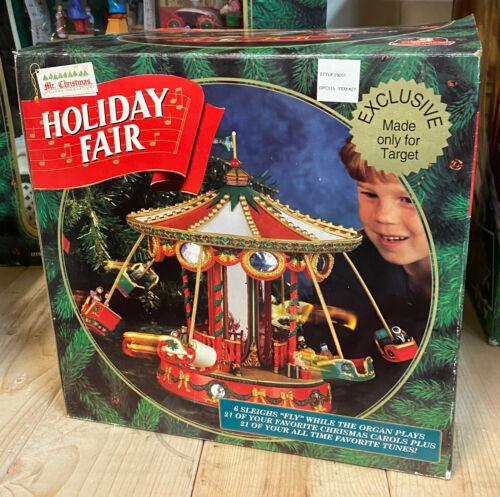 1996 Mr Christmas HOLIDAY FAIR Animated Musical Carousel Sleighs UNUSED IN BOX