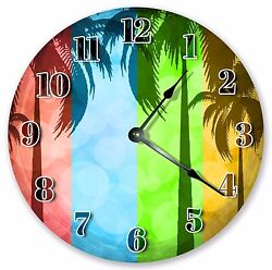 10.5 PALM TREES ABSTRACT ART CLOCK - Large 10.5 Wall Clock - Home Décor - 3099