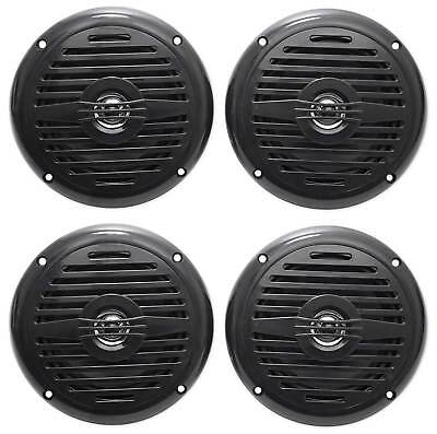 "(4) Rockville MS525B 5.25"" 800 Watt Waterproof Marine Boat Speakers 2-Way Black"
